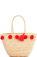 Pom Pom and Tassel Straw Tote